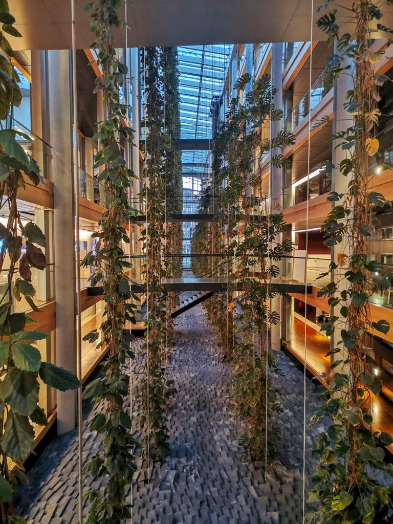 cladirea parlamentului european stasbourg franta interior perete vertical plante